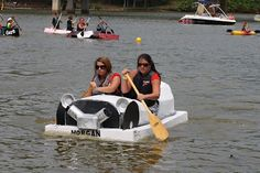 help the kids with an entry for the Cardboard Boat Race held before the Dive-In Movie at the Bridgeport, WV pool.