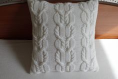 Cable Knit Pillow Cover Pure White Pillow Case by Adorablewares