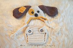 """Crocheted Baby Patchy Puppy Earflap Hat & Diaper Cover Photo Prop Size Newborn-12 Months """"FREE SHIPPING"""". $28.00, via Etsy."""