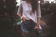 love the polka dots and high-waist shorts <3