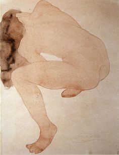 seated nude bending over- Rodin