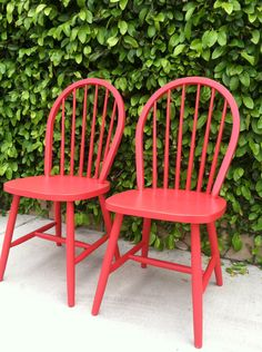 Set of 2 Vintage Spindle Chairs, Painted Red,  Wood,  Kitchen Chairs, Dining Chairs (Los Angeles).