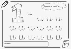 """Repasa con pintura la vocal """"u"""" minúscula. La palabra """"uno"""" comienza por """"u""""."""
