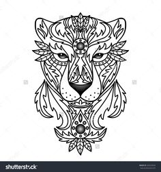 Ornamental Panther. Vector Illustration For Textile Prints, Tattoo ...