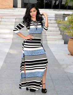 Diário da Moda: Look do dia: Vestido longo com fenda + meia pata com salto grosso + listras + fenda