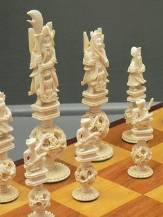 Stained and White Ivory Puzzle-Ball Chess Set China Early 20th Century CE (2)