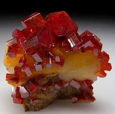 (Looks like a Jello dessert!)  Mixed minerals: Vanadanite on Barite from Mibladen, Morocco