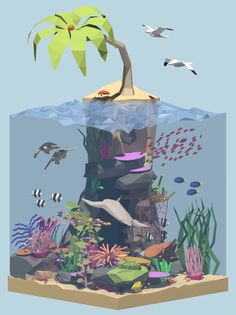 For a late week 10 of my project 52 Arts, another daily diorama. This one inspired by scuba diving in the Keys. Fish are cool and the ocean is full of fun things to model, so might do some more of these. As always, see all past pieces in the project here Tower Defense, Low Poly Games, Polygon Art, Isometric Art, 3d Artwork, Artwork Drawings, Low Poly 3d Models, Modelos 3d, Ideas