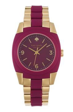Gorgeous mix of plum and gold. Obsessed with this Kate Spade bracelet watch.