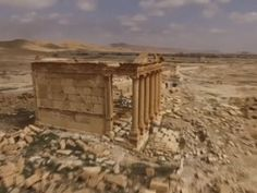 """Aerial footage of the ancient Syrian city of Palmyra reveals what remains of the """"Pearl of the Desert"""", famed for its ruins, after Islamic State terrorists were driven from the area. Drone Filming, Aerial Footage, Ancient Rome, Syria, Destruction, Chill, Damascus, History, Temples"""