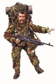 Royal Marine Commando, Falkland Islands 1982. Military Personnel, Military Weapons, Military Art, Military History, Military Uniforms, British Royal Marines, British Army, Army Drawing, Military Drawings