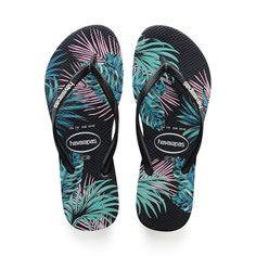 6e9b219a6f823 SLIM TROPICAL FLORAL FLIP FLOPS BLACK PINK - Havaianas Floral Sandals
