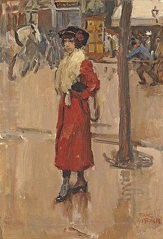 Parisienne met rode mantel Isaac Lazarus Israels