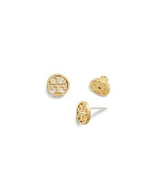 Our Logo-Circle Stud Earring makes a charming accent — and a great gift. This petite button style, detailed with a cut-out 'T', is offered in three tones of richly plated brass. Unde