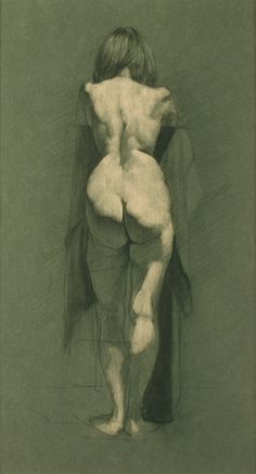 Zack Zdrale, Female Back, Graphite and White Chalk on Blue Toned Paper, 17 x 15 inches, 2008