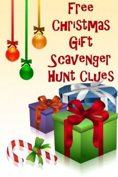 6 Free rhyming Christmas Gift Scavenger Hunt clues to help you hide presents in your home this Christmas. Easy and fun for all ages.