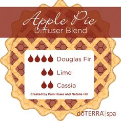 Apple Pie Diffuser Blend: Douglas Fir, Lime, and Cassia. If you love the sweet and cinnamon smells of apple pie, then you will love this diffuser blend. Created by Pam Howe and Natalie Hill, this blend uses three essential oils that not only smell delicious but will promote a warm, positive, and uplifting mood. #doterra #lime #essential #oil