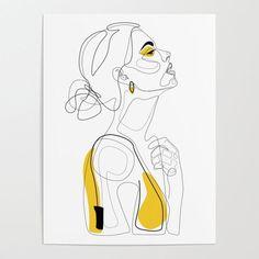 Profil de femme Illustration Dessin main Art Imprimer - New Ideas For Dinner Art And Illustration, Frida Art, Drawing Hands, Face Line Drawing, Drawing Drawing, Drawing Tips, Art Watercolor, Poster Drawing, Drawn Art