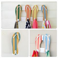 Wood Flip Flop towel rack handcrafted and painted. Custom colors are welcome…