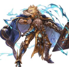 Wielding his mighty lightning hammer, he shelters all living things and gives hope to tenaci. Fantasy Character Design, Character Design Inspiration, Character Art, Fantasy Armor, Anime Fantasy, Granblue Fantasy Characters, Aliens, Epic Characters, Fire Art
