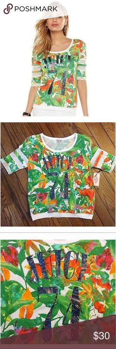 """JUICY COUTURE TROPICAL FLORAL PRINT SWEATSHIRT Juicy Couture tropical floral print french terry sweatshirt with hologram graphic """"Juicy 74"""" with rolled sleeves mesh insert will bring the tropics to your wardrobe!  *(S 4-6), (M 8-10), (L 12-14), (XL 16-18)  *60% cotton/40% polyester *machine wash  CLOSET RULES: Bundle Discounts * No Trades * Smoke free Juicy Couture Tops Sweatshirts & Hoodies"""