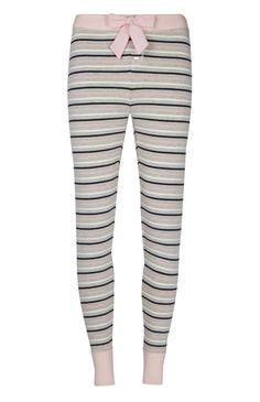 Legging de pyjama gris et rose à rayures
