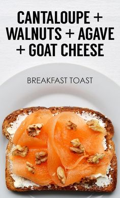 Ribboned Cantaloupe, Chopped Walnuts, Agave, and Goat Cheese Breakfast Toast Breakfast And Brunch, Breakfast Recipes, Breakfast Ideas, Second Breakfast, Vegetarian Breakfast, Vegan Vegetarian, Clean Eating Snacks, Healthy Snacks, Healthy Eating