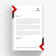 White letterhead cv template with red and grey details Premium Psd Letterhead Business, Business Card Mock Up, Modern Business Cards, Business Brochure, Business Card Design, Company Letterhead Template, Letterhead Design, Brochure Design, Ui Design