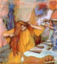 Woman in a Yellow Robe Combing Her Hair Artwork by Edgar Degas Hand-painted and Art Prints on canvas for sale,you can custom the size and frame