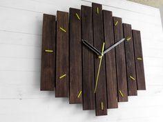 Big Romb Bicolor wooden wall clock yellow contemporary wall