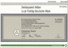 Share from Dresdner Bank (today Commerzbank); Aktie der Dresdner Bank über 2000 x 50 DM