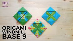 How to fold another origami windmill base model. Origami Wall Art, Origami Quilt, 3d Origami, Diy Origami Earrings, Origami Windmill, Paper Quilt, Paper Folding, Artsy Fartsy, Coasters