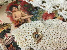 Vintage 925 Gold Vermeil Black Sapphire Diamond Heart Pendant Valentine Gift #Pendant