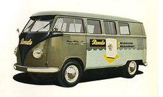 Volkswagen Splitty bus with painted logo. https://www.facebook.com/volkswagencollectibles