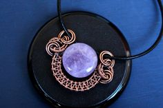 Wire wrapped pendant - Amethyst pendant - Copper jewelry - Wire wrapped jewelry - Inspirational jewelry - Halloween costume