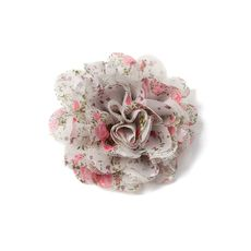 Floral Print Chiffon and Mesh Flower Hair Clip - Icing Sale