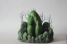 Купить Лесной зверь - зеленый, зверек, лесное озеро, болото, фигурка зверя, маленькая девочка