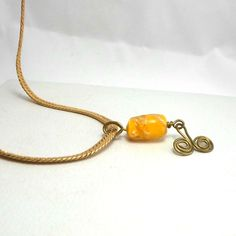 Bobs Flame Beads handmade wirework yellow bead goldtone chain 18 inch #Pat2 #pendant