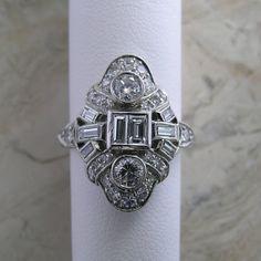 Platinum Diamond Vintage Antique Dinner by marketplacetreasure, $3050.00