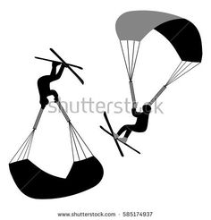 Speedriding vector. Sport as lifestyle. Extreme sport sign. Skier parachutist silhouette isolated on white Parachute and skis. Person on skis with parachute design in flat style. Hand drawn cartoon.