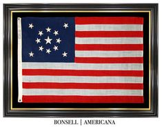 13 Star Antique American Flag with Medallion Star Pattern and STANDARD Stamp