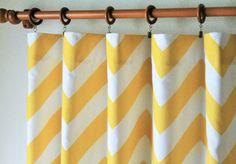 Pair 50  wide corn yellow and white BIG zippy chevron by LivePlush