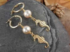 Gold-Filled Freshwater Pearl Seahorse Earrings