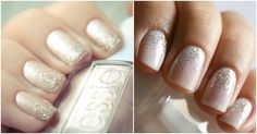 Nails for prom | Champagne nails w/ silver glitter