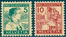Swiss Stamps - Pro Juventute Isses of 1912-1917  The two Pro Juventute Swiss stamps shown above were issued in 1915. This issue, along with the 1916 and 1917 issues, feature children dressed in regional costumes. The 5 (+5) C. denomination depicts a boy of Appenzell, and the 10 (+5) C. denomination depicts a girl of Lucerne.