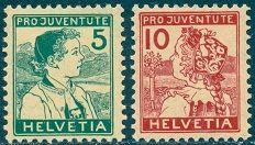 """ღ ღ Swiss Stamp ღ ღ Previous Pinner Penned: """"Pro Juventute Isses of 1912-1917 The two Pro Juventute Swiss stamps shown above were issued in 1915. This issue, along with the 1916 and 1917 issues, feature children dressed in regional costumes. The 5 (+5) C. denomination depicts a boy of Appenzell, and the 10 (+5) C. denomination depicts a girl of Lucerne."""""""