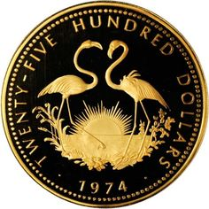 Bahamas 2500 Dollars Gold Coin 1974 Flamingos