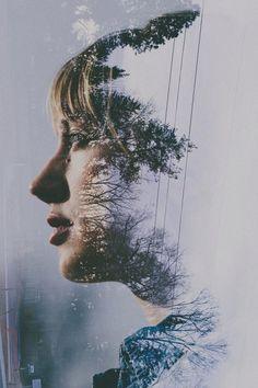 Forest portrait double exposure