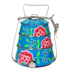 Image of Hand Painted Enamel Tiffin - Blue
