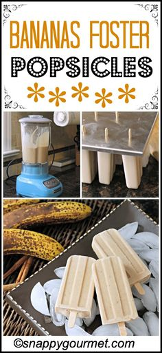 Bananas Foster Popsicles, a fun recipe twist on bananas foster in popsicle form with bananas, greek yogurt, rum extract, and cinnamon. Banana Popsicles, Homemade Popsicles, Frozen Desserts, Frozen Treats, Homemade Ice Cream, Gelato Homemade, Homemade Sorbet, Smoothies, Smoothie Recipes